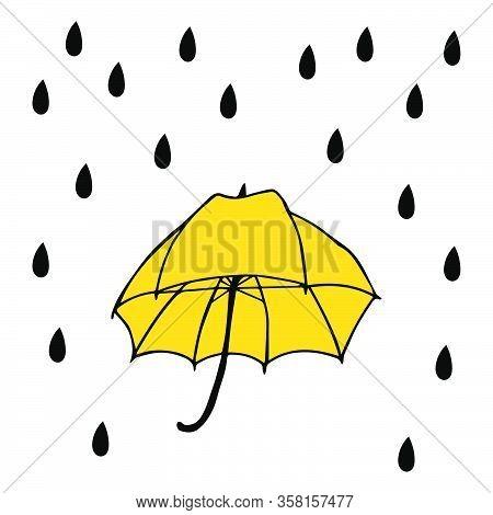 Umbrella With Rain Vector Illustration. Umbrella For Decoration Design. Umbrella For Concept Design.