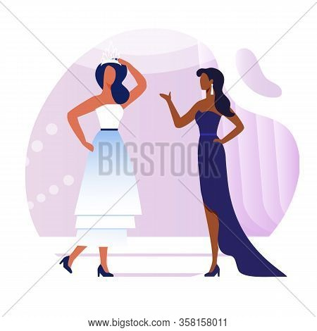 Young Models Conversation Flat Vector Illustration. Elegant Women In Fashionable Dresses Cartoon Cha