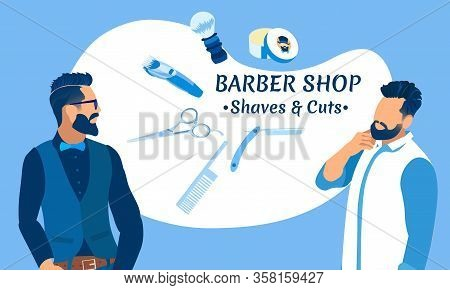 Barber Shop Shaves And Cuts Banner. Couple Of Young Hipster Men Characters With Cool Hairstyle And B