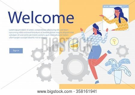 Women Cartoon Characters Welcoming To New Project Investors, Sponsors, Clients Or Employees. Financi
