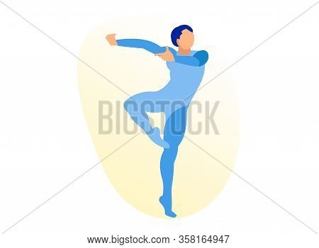 Young, Handsome, Sporty And Athletic Ballet Dancer Wearing Tight Costume Stand In Dancing Position I