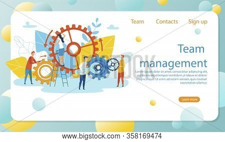 Inscription Team Management Vector Illustration. Success Employees Men And Women Customize Workflow.