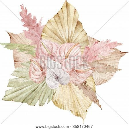 Bouquet Of Exotic Flowers. Watercolor Gold And Pink Tropical Illustration. Colorful Blush Compositio