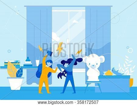 Two Girls Cartoon Characters Fight And Quarrel. Children, Teeenagers And Preschollers With Bad Uncon