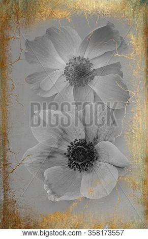 Beautiful Anemone Flowers, Isolated On A Vintage Background With Golden Patina