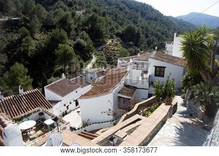 The Traditional Spanish Village, El Acebuchal, In Andalusia.  A Small Hamlet In The Mountains Near T
