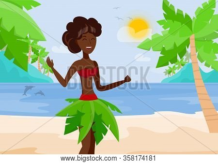 Vacation At Paradise Island Vector Illustration. Polynesian Woman In Exotic Clothes Cartoon Characte