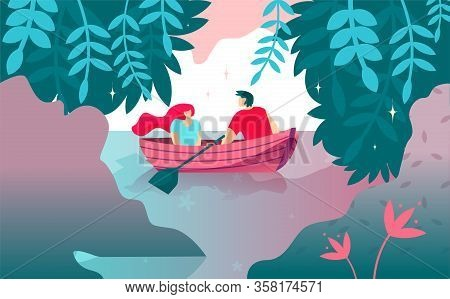 Vector Illustration Romance Boat Ride Cartoon. Quiet Place For Declaration Love. Young Man Rolls Gir