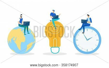 Three Men Sitting On Huge Globe, Light Bulb, Clock And Working On Laptop Flat Cartoon Vector Illustr
