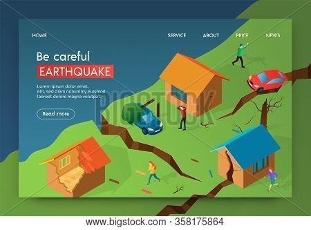Vector Illustration Be Careful Earthquake Banner. Crack In Earth After An Earthquake. Men And Women