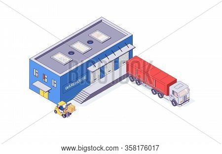 Isometric Warehouse And Storage Forklift Truck Building. Delivery Logistic Depot And Interior Vector