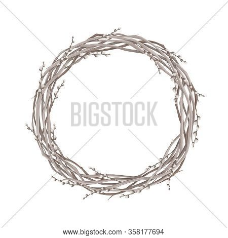 Wreath Of Spring Willow On A White Background. Digital Illustration