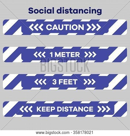 Vector Illustration Keep Distance. Social Distancing. Chinese Coronavirus Covid-19 Quarantine. Pande