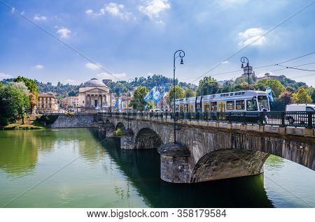 Turin, Italy, September 10, 2018: Catholic Parish Church Chiesa Gran Madre Di Dio, Tram On Ponte Vit