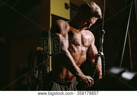 Fitness Bodybuilder Works Out Pushing Up Excercise In Gym