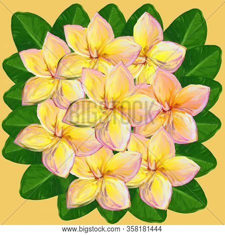 Tropical Lush Bouquet With Green Exotic Leaves And Flowers. Frangipani Plumeria Tropical Flowers. Pi