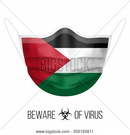Medical Mask With National Flag Of Palestine. Protective Mask Virus And Flu. Surgery Concept Of Heal