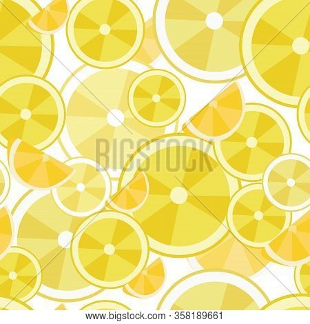 Seamless Pattern With Fresh Lemon Slices. Bright Yellow Colors. Element For Design.  White Backgroun