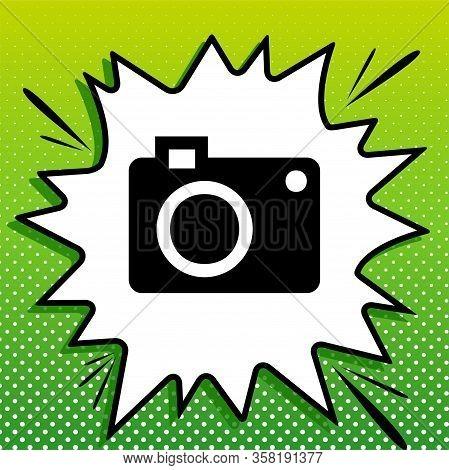 Digital Camera Sign. Black Icon On White Popart Splash At Green Background With White Spots. Illustr