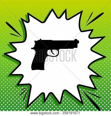 Gun Sign Illustration. Black Icon On White Popart Splash At Green Background With White Spots. Illus