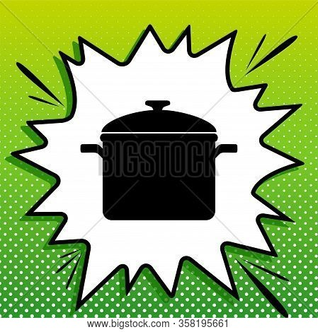 Cooking Pan Sign. Black Icon On White Popart Splash At Green Background With White Spots. Illustrati