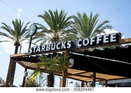 Palma de Mallorca, Spain - September 19, 2017. Starbucks coffee sign. Starbucks Coffee is an American chain of coffee shops, founded in Seattle.