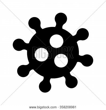 Corona Virus Sign. Graphic Microbe Logo Isolated. Coronaviridae Black Shape Symbol. Microscopic Imag