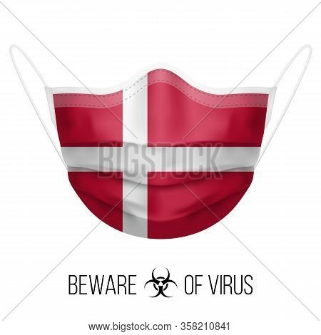 Medical Mask With National Flag Of Denmark As Icon On White. Protective Mask Virus And Flu. Surgery