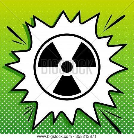 Radiation Sign. Black Icon On White Popart Splash At Green Background With White Spots. Illustration