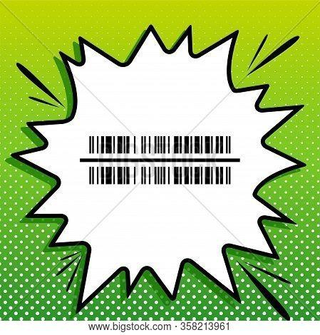 Bar Code Sign. Black Icon On White Popart Splash At Green Background With White Spots. Illustration.