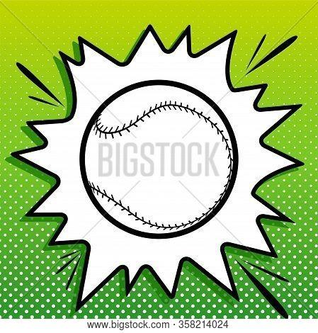 Baseball Ball Sign. Black Icon On White Popart Splash At Green Background With White Spots. Illustra