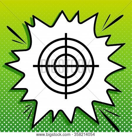 Target Aiming Sign. Black Icon On White Popart Splash At Green Background With White Spots. Illustra