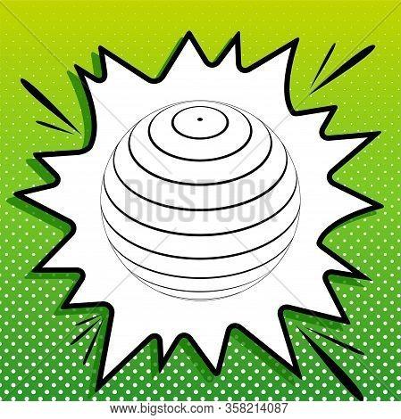 Globus Linear Sign. Black Icon On White Popart Splash At Green Background With White Spots. Illustra