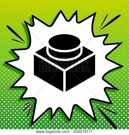 Black Thin Line Building Toy Sign. Black Icon On White Popart Splash At Green Background With White