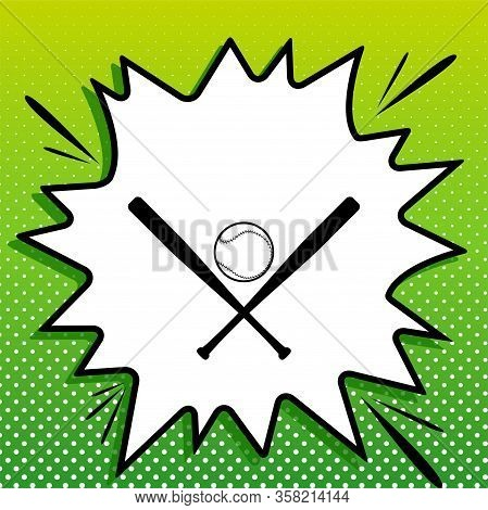 Baseball Sign. Black Icon On White Popart Splash At Green Background With White Spots. Illustration.