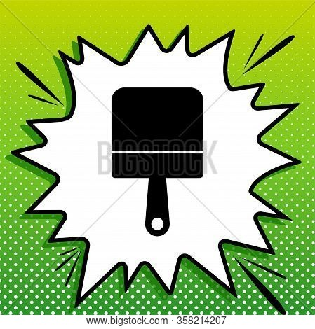 Putty Knife Sign. Black Icon On White Popart Splash At Green Background With White Spots. Illustrati