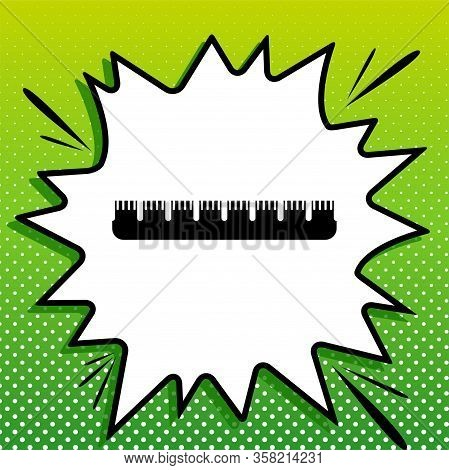 Ruler Sign. Black Icon On White Popart Splash At Green Background With White Spots. Illustration.