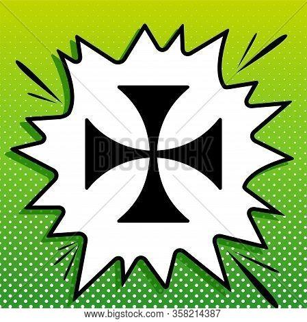Maltese Cross Sign. Black Icon On White Popart Splash At Green Background With White Spots. Illustra