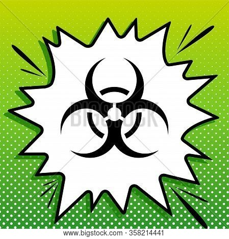 Danger Chemicals Sign. Black Icon On White Popart Splash At Green Background With White Spots. Illus