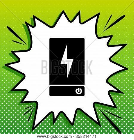 Power Bank Battery Sign. Black Icon On White Popart Splash At Green Background With White Spots. Ill