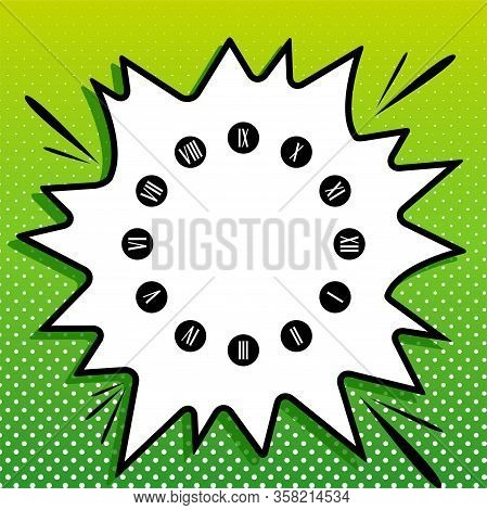 Clock Face Sign. Black Icon On White Popart Splash At Green Background With White Spots. Illustratio