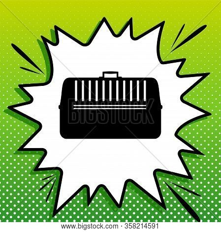 Cat Basket Sign. Black Icon On White Popart Splash At Green Background With White Spots. Illustratio