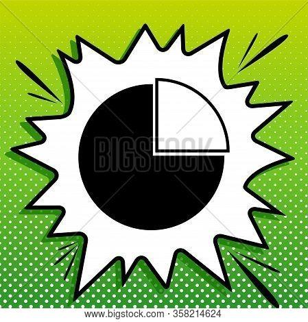 Diagram Sign. Black Icon On White Popart Splash At Green Background With White Spots. Illustration.