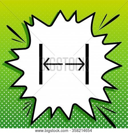 Sliding Door, Automatic Door Sign. Black Icon On White Popart Splash At Green Background With White
