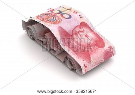 Car Finance With Chinese Yuan (isolated On White Background) 3d Rendering