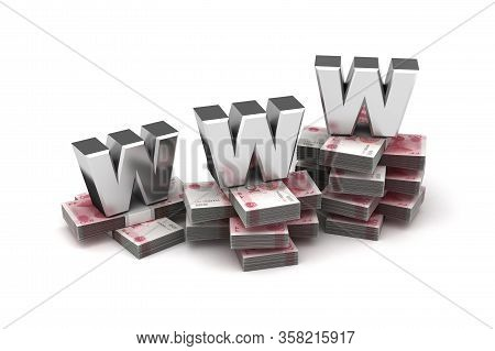 World Wide Web Economy With Chinese Yuan (isolated On White Background) 3d Rendering