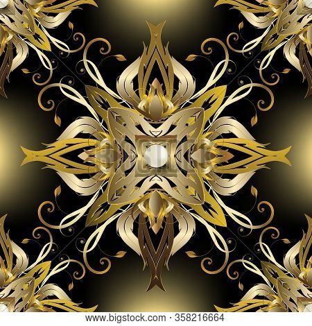 Jewelry Gold Baroque 3d Seamless Pattern. Vector Glowing Floral Background. Vintage Victorian Baroqu