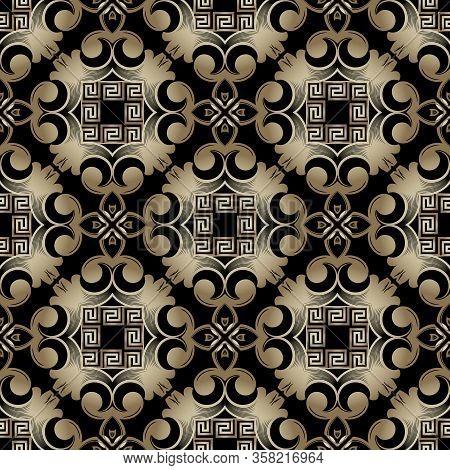 Ornamental Gold Baroque Vector Seamless Pattern. Greek Key Meanders Ornament. Vintage Floral Arabesq