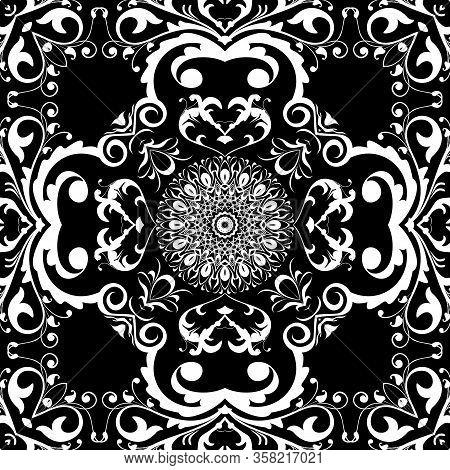 Black And White Baroque Seamless Pattern. Monochrome Ornamental Floral Background. Repeat Ornate Dam