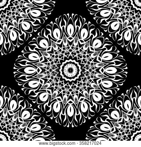 Black And White Baroque Mandalas Seamless Pattern. Monochrome Ornamental Floral Background. Repeat D